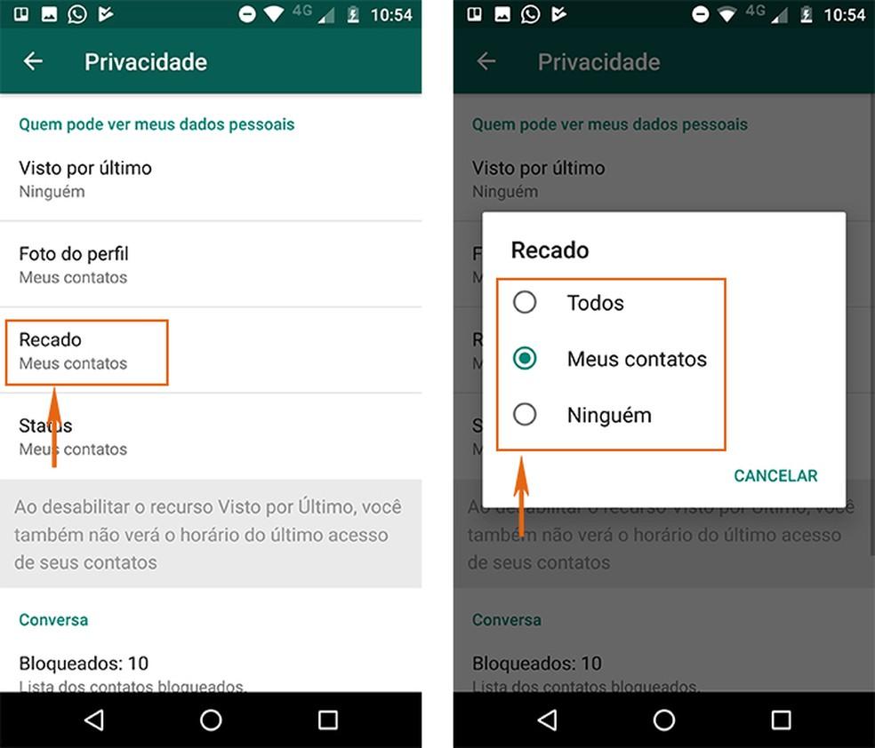 Oculte os dados do Recado no WhatsApp para Android (Foto: Reprodução/Barbara Mannara)