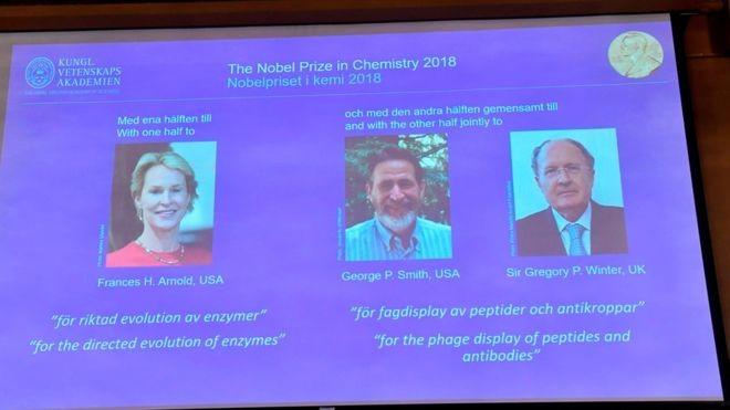 Nobel de Química 2018 (Foto: AFP via BBC News Brasil)