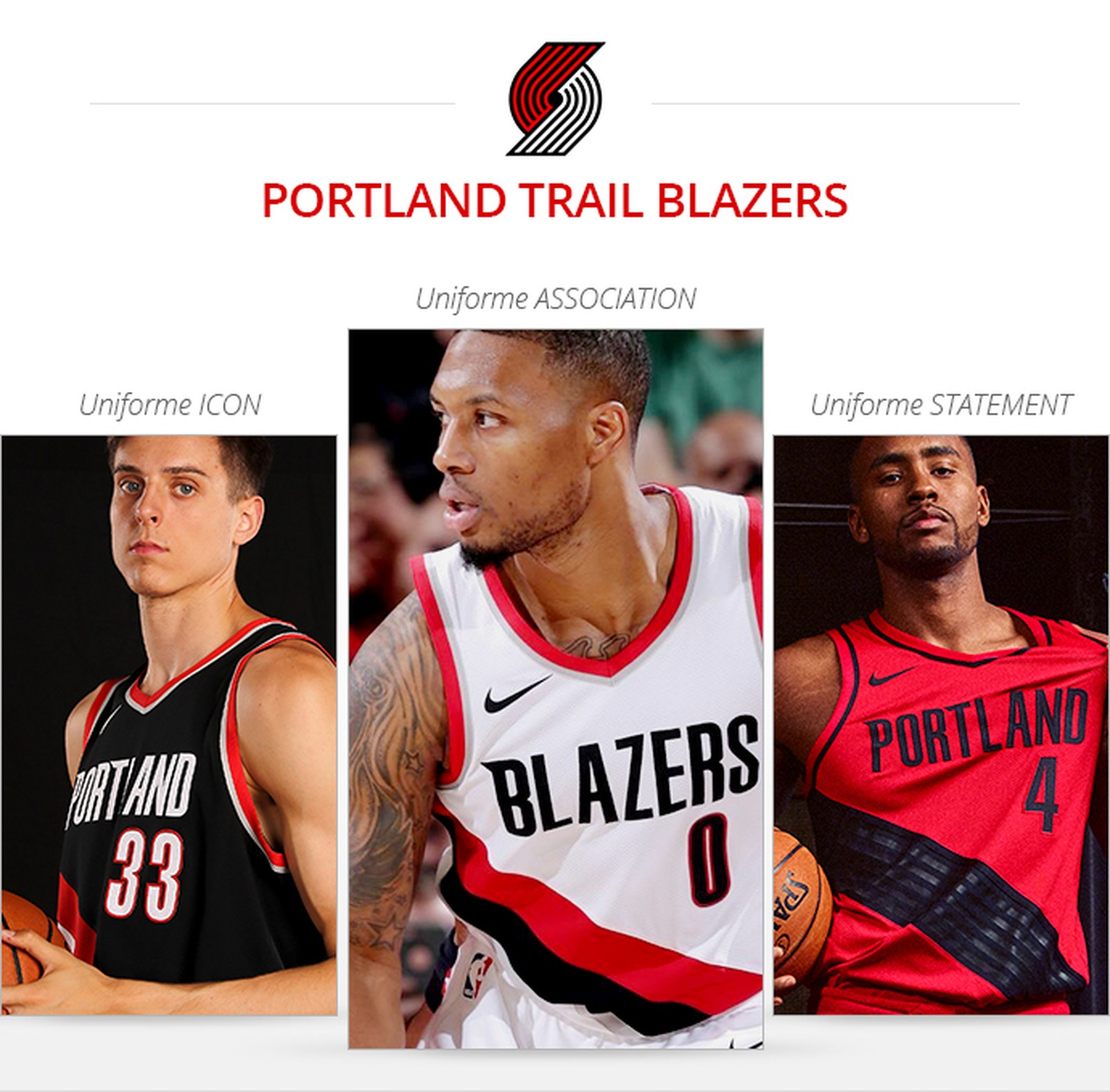 Uniformes Portland Trail Blazers saison 2017/18