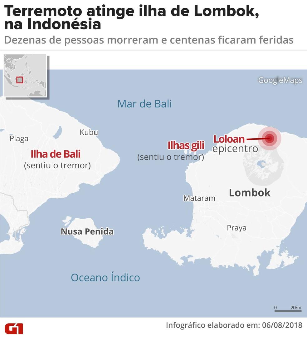 Terremoto atinge Lombok, na Indonésia (Foto: Juliane Monteiro/G1)