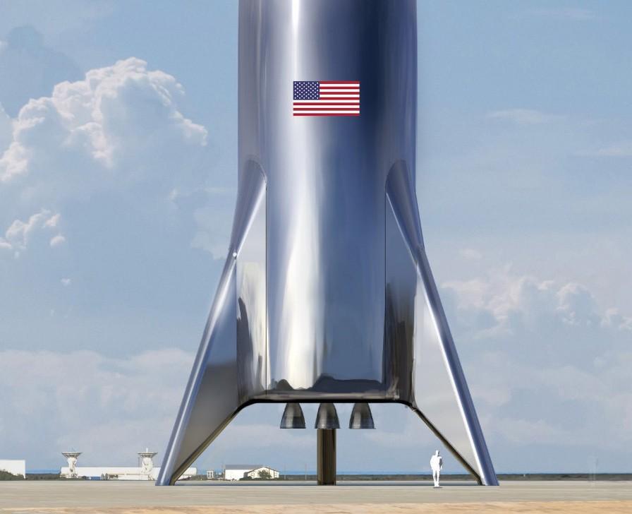 Projeto do foguete tripulado sendo construído pela SpaceX (Foto: Reprodução/Twitter)