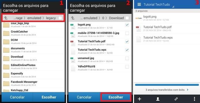 Janelas para selecionar arquivos do Android que serão salvos na nuvem (Foto: Reprodução/Raquel Freire)