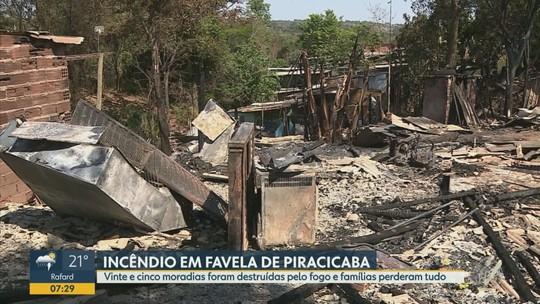 Incêndio destrói 25 moradias em favela de Piracicaba