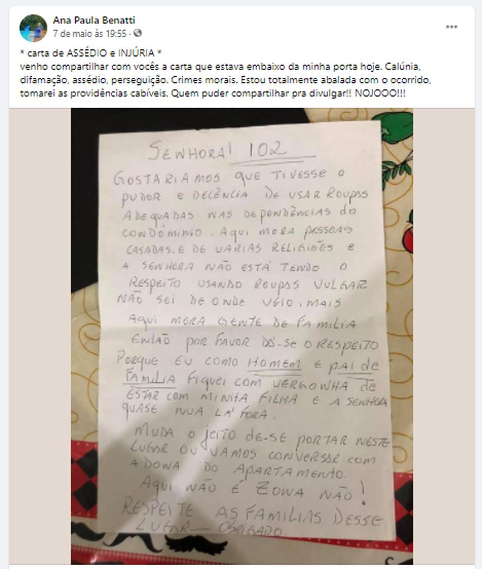 Ana Paula publicou a carta nas redes sociais afirmando estar abalada com o ocorrido — Foto: Reprodução