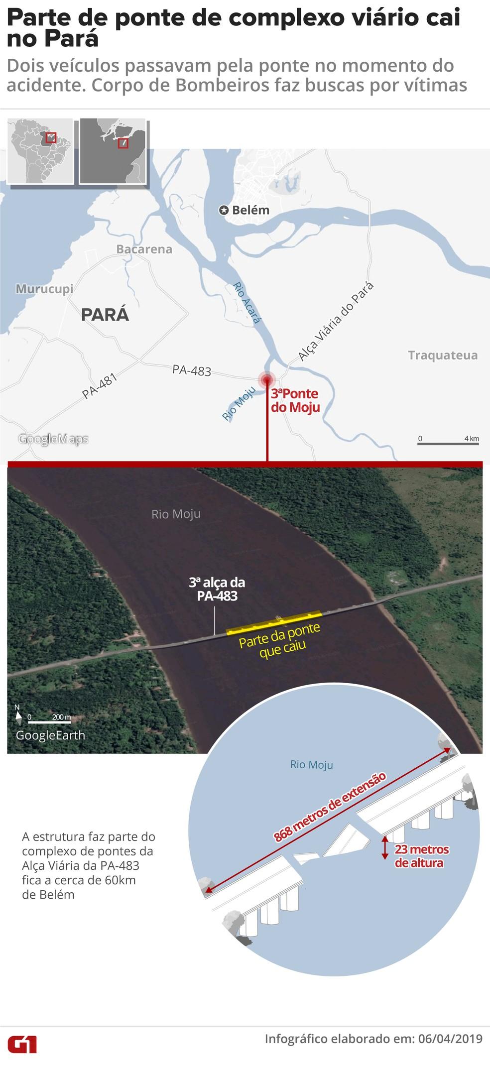 Mapa mostra ponto em que parte de ponte caiu — Foto: Juliane Souza