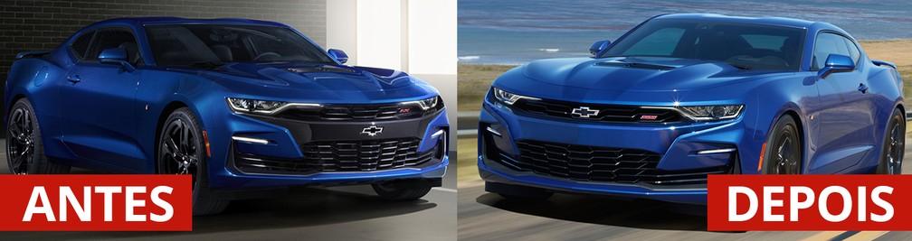 Antes e depois do Chevrolet Camaro SS — Foto: Divulgação/Chevrolet