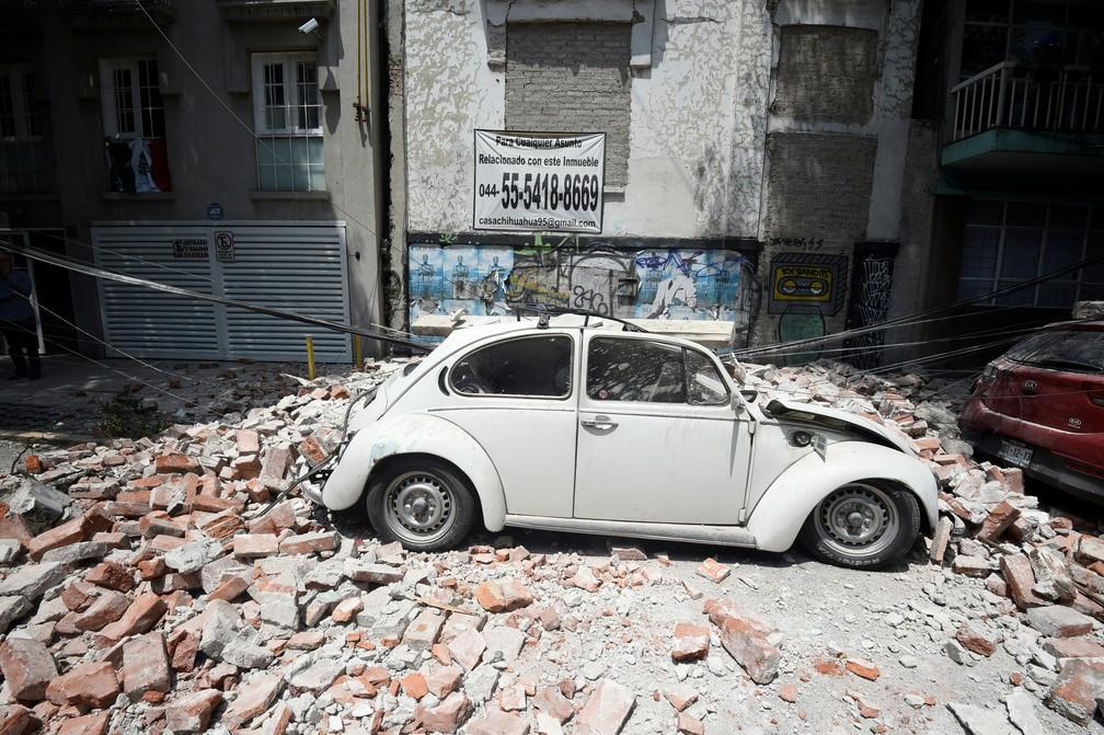 Terremoto na Cidade do México deixa rastro de destruição (Foto: Alfredo  Estrella/AFP)