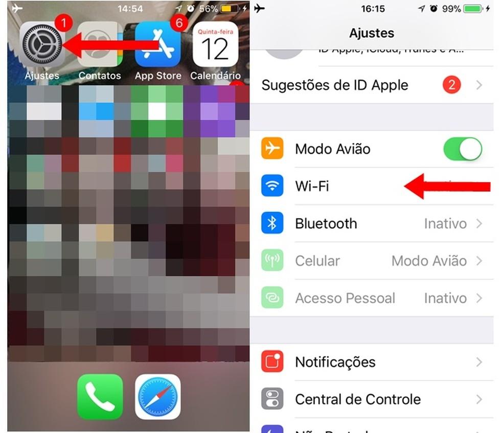 Opção de Wi-Fi no iOS 11 (Foto: Carolina Ribeiro)