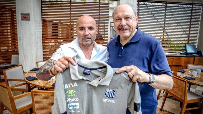 Santos usa Jorge Sampaoli como trunfo em busca por novo patrocinador máster   386997e4282f8