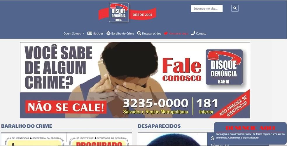 Serviço do Disque-Denúncia passa a ser disponibilizado na internet na Bahia — Foto: Reprodução