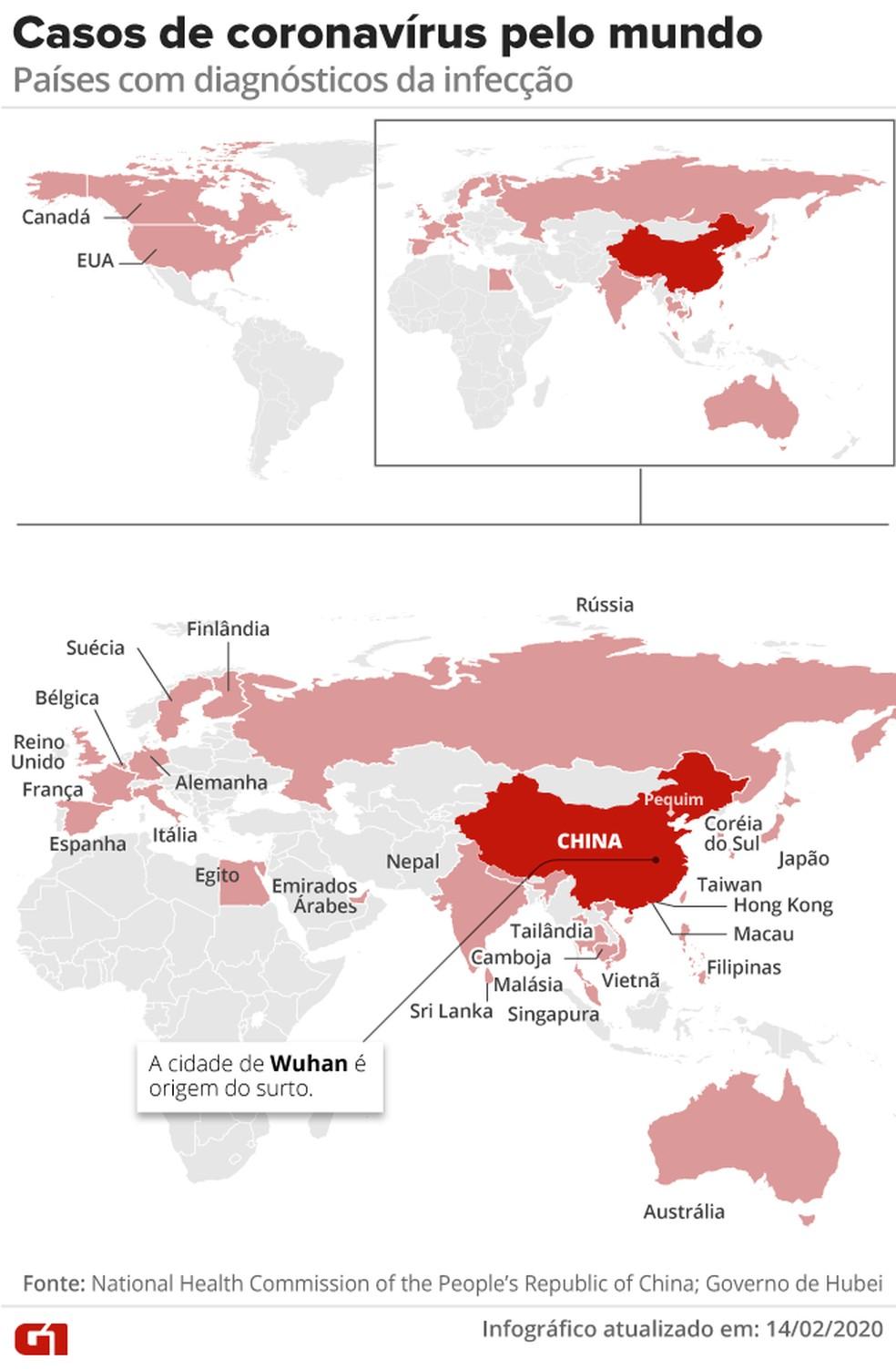 Casos de coronavírus pelo mundo – Atualizado em 17/02 às 10h30 — Foto: Arte G1