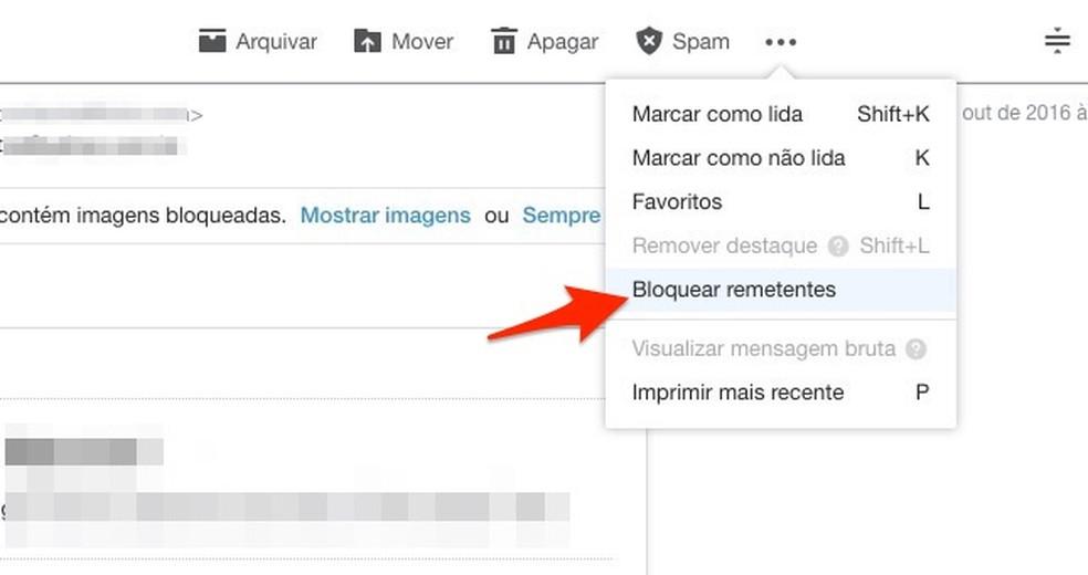 Opção para bloquear um remetente de e-mail no Yahoo Mail — Foto: Reprodução/Marvin Costa