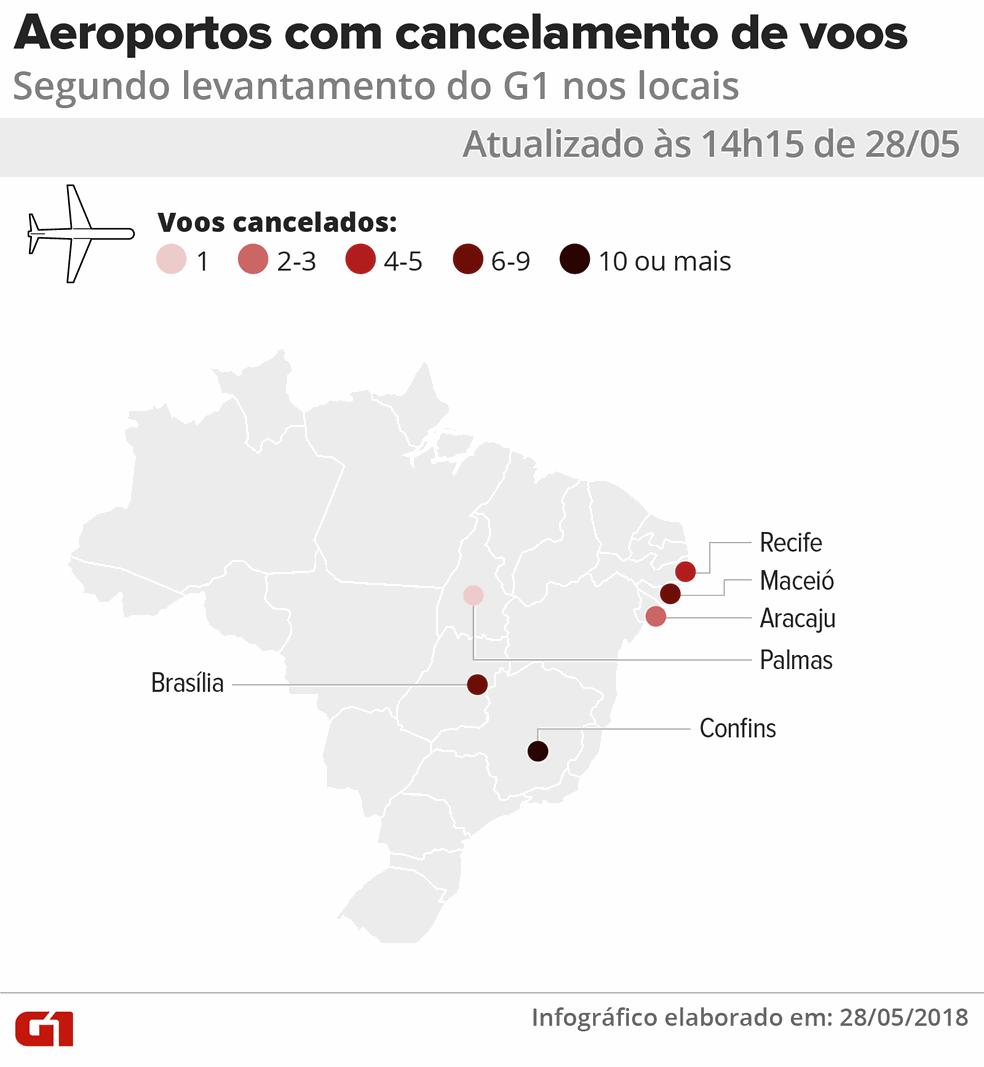 14h10 - Mapa de voos cancelados em aeroportos do país por causa da greve dos caminhoneiros (Foto: Juliana Monteiro/G1)