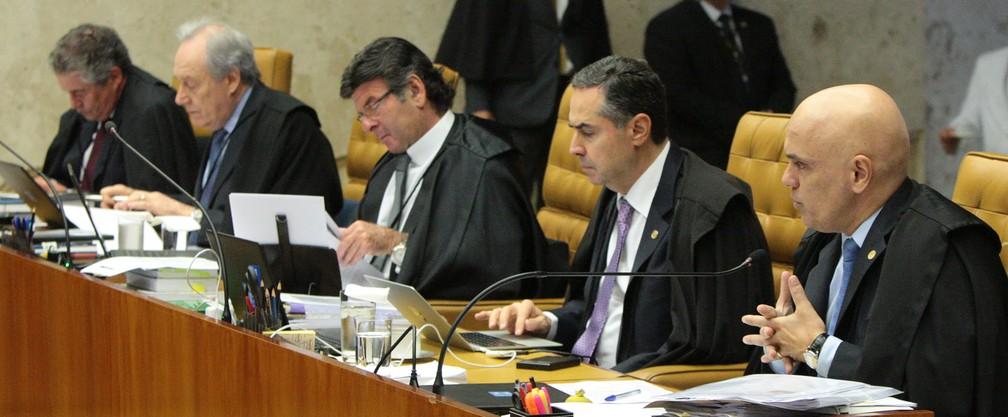 Ministros em sessão do STF que julgou ação sobre educação dos filhos pelos pais em casa — Foto: Carlos Moura/SCO/STF