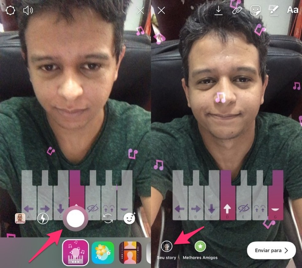 Ação para compartilhar no Instagram Stories um vídeo com o desafio do piano — Foto: Reprodução/Marvin Costa