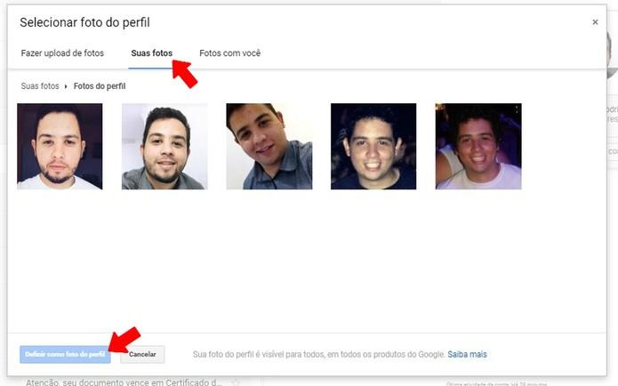 Você pode colocar fotos antigas no perfil do Gmail (Foto: Reprodução/Rodrigo Fernandes'')