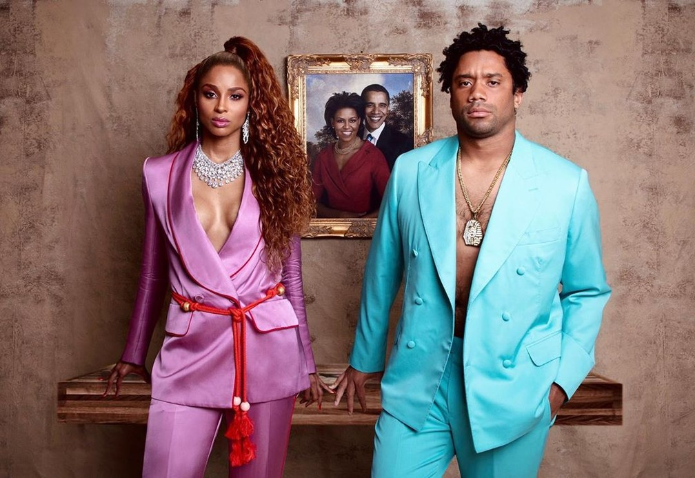 """Ciara e o marido Russell Wilson se transformaram em Beyoncé e Jay-z, no clipe de """"Apeshit"""", neste Halloween — Foto: Reprodução/Instagram/Ciara"""