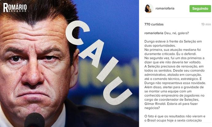 Romário ataca Dunga em post no Instagram (Foto: Reprodução / Instagram)