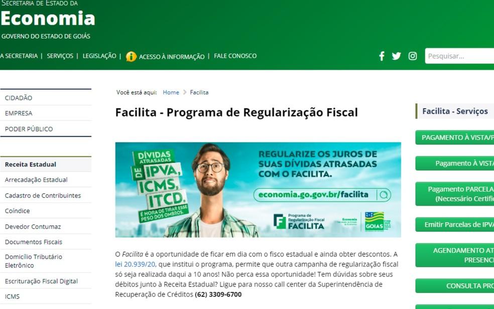 Prazo para negociar dívidas de IPVA, ICMS e ITCD com o governo é prorrogado em Goiás — Foto: Reprodução/Secretaria de Economia