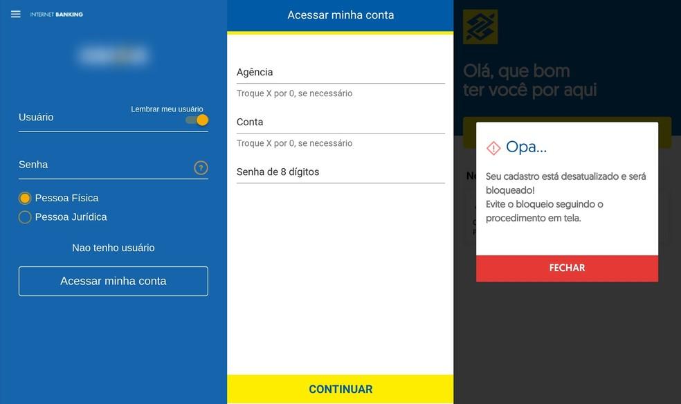 Criminosos criam cópias perfeitas de apps e sites de grandes bancos para enganar as vítimas — Foto: Reprodução/PSafe