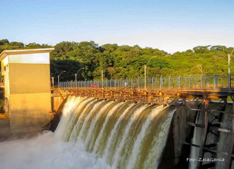 Represa do Rio Paranapanema, em Piraju (SP) — Foto: Prefeitura de Piraju/Divulgação