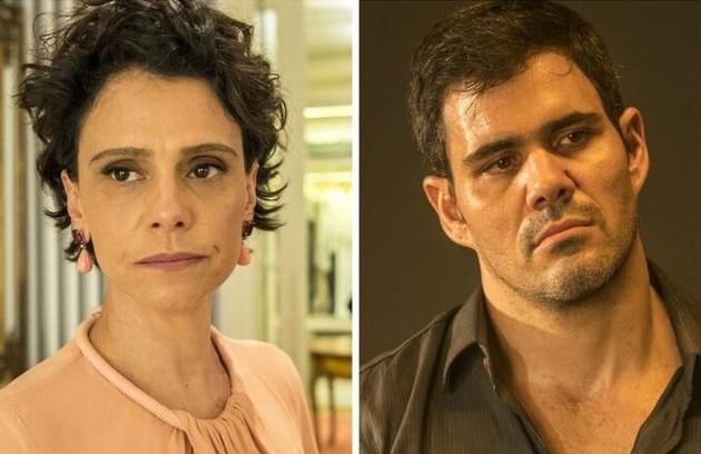 Lídia (Malu Galli) e Magno (Juliano Cazarré) também terão Covid. Eles viverão um romance (Foto: TV Globo)