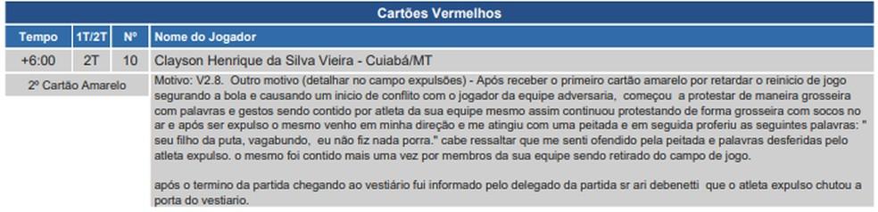 Súmula ClaysonCuiabá x Juventude — Foto: Divulgação/CBF
