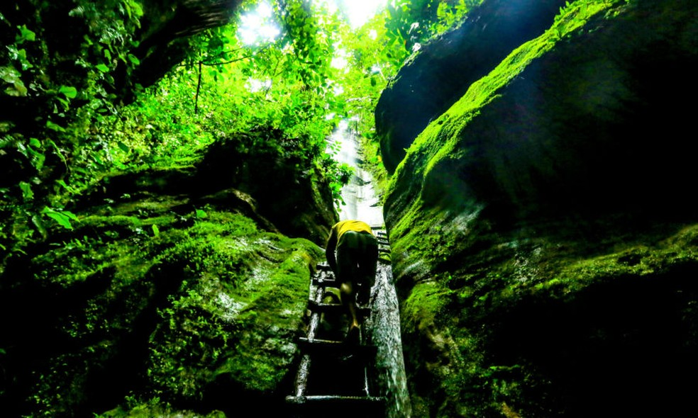 Cachoeira da Estátua no Parque Nacional da Serra do Divisor, no Acre  — Foto: Marcos Vicentti/Secom
