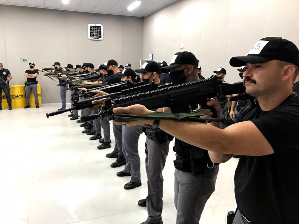 """Treinamento foi feito ppelo Comando de Policiamento de Choque: atuação no padrão """"Rota"""", segundo a PM — Foto: Polícia Militar/Divulgação"""