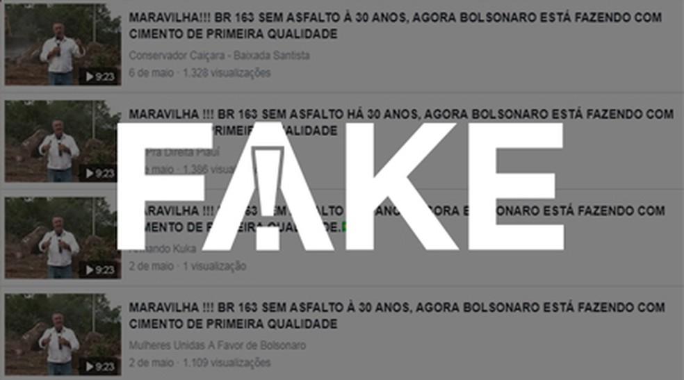 É #FAKE que vídeo mostra obras na BR 163 durante governo Bolsonaro — Foto:  G1