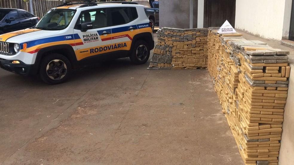 Droga apreendida na operação BR-364 em Itapagipe (Foto: Polícia Militar ´Rodoviária/Divulgação)