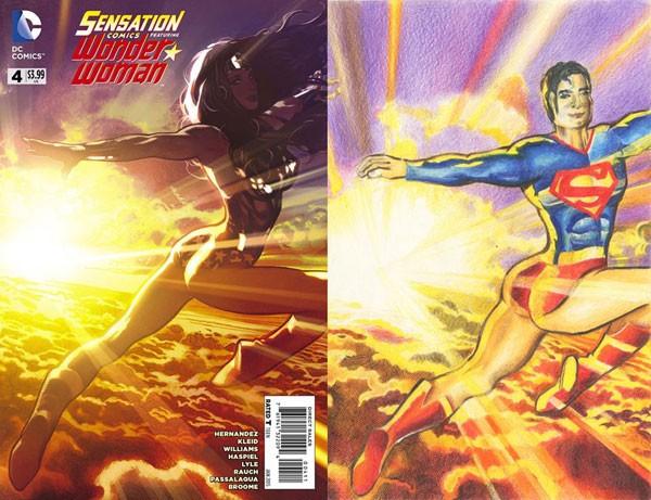 Outro desenho mostra Super-Homem repetindo pose da Mulher-Maravilha (Foto: Reprodução)
