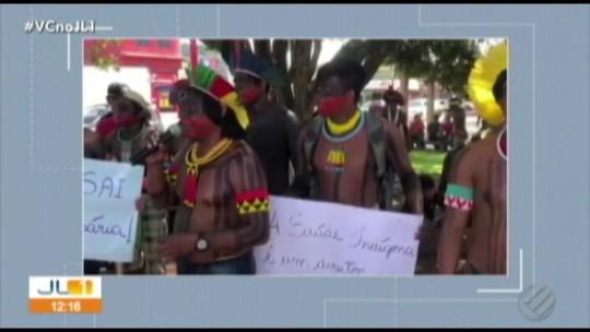 Índios da etnia Kayapó fazem protesto contra medida provisória do governo federal em Tucumã, no PA