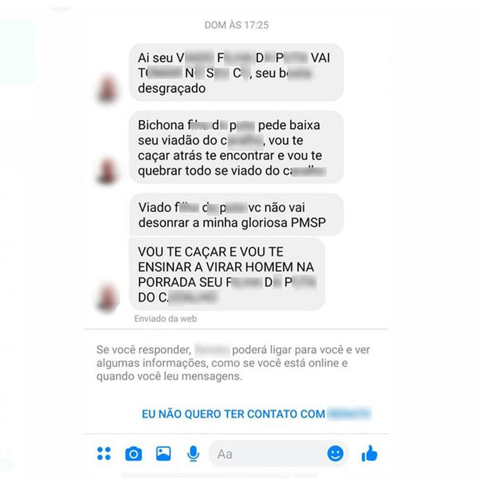 Homem que se identificou como policial militar ameaça soldado Leandro Prior após ele divulgar pedido de casamento que fez ao namorado — Foto: Reprodução/Redes sociais