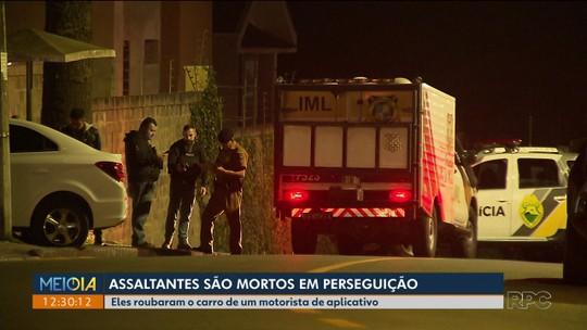 Dois suspeitos de roubar carro de motorista de aplicativo são mortos durante perseguição policial, em Curitiba