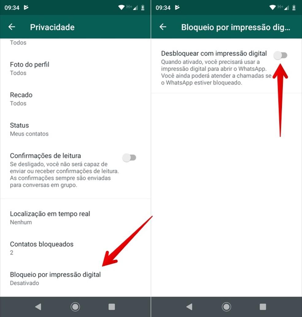 Configurando desbloqueio por digital — Foto: Reprodução/Helito Beggiora