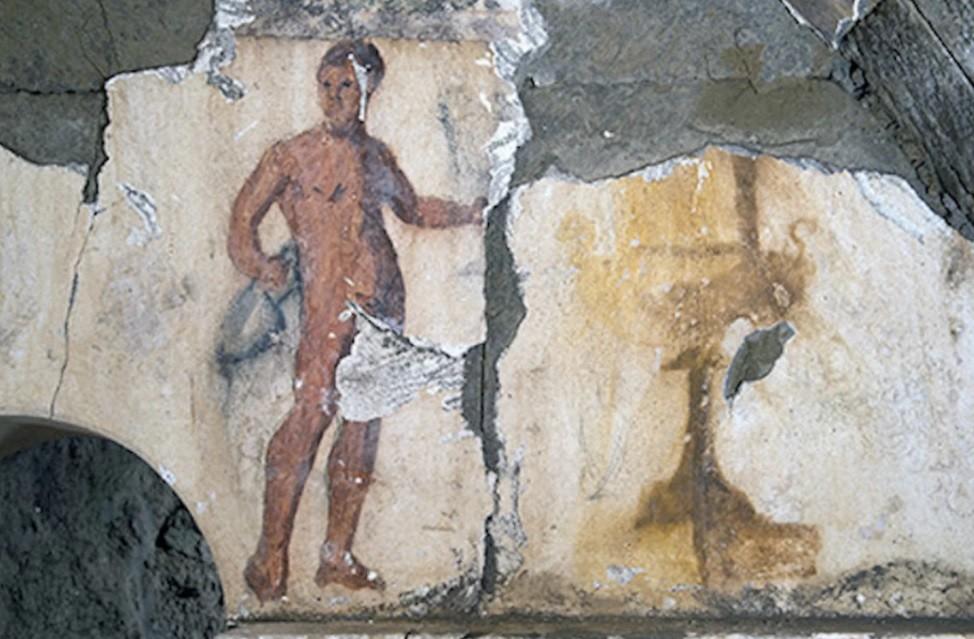 Desenho de homem nu que retrata um servo romano (Foto: Divulgação/CNRS)