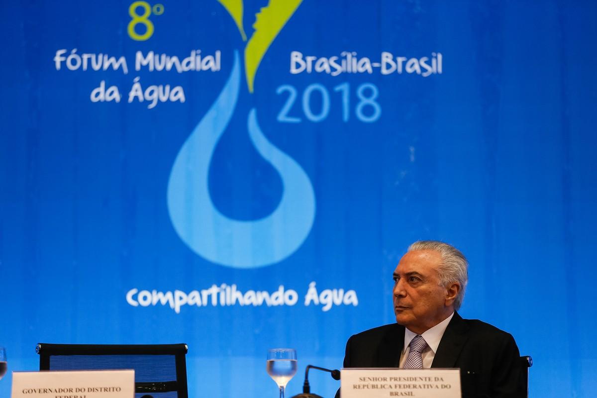 Governo trabalha em marco regulatório do saneamento, diz Michel Temer na abertura do Fórum Mundial da Água