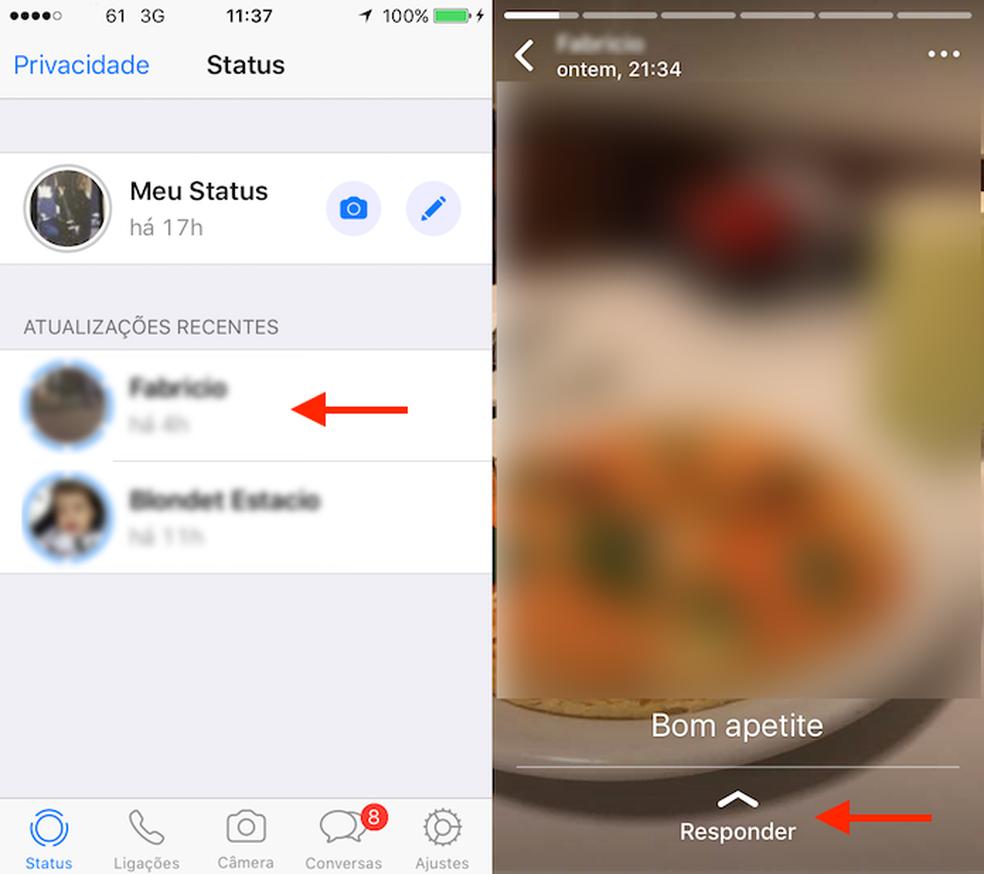 Caminho para responder um status no WhatsApp para iPhone (Foto: Reprodução/Marvin Costa)