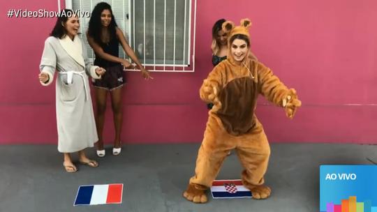 Vestida de urso, Fernanda Keulla 'invade' set de gravação de 'Segundo Sol'