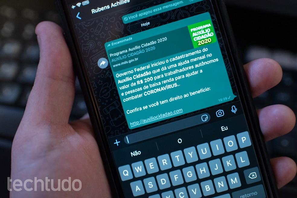 Auxílio coronavírus' e outros golpes no WhatsApp atingem 2 milhões — Foto: Rubens Achilles/TechTudo