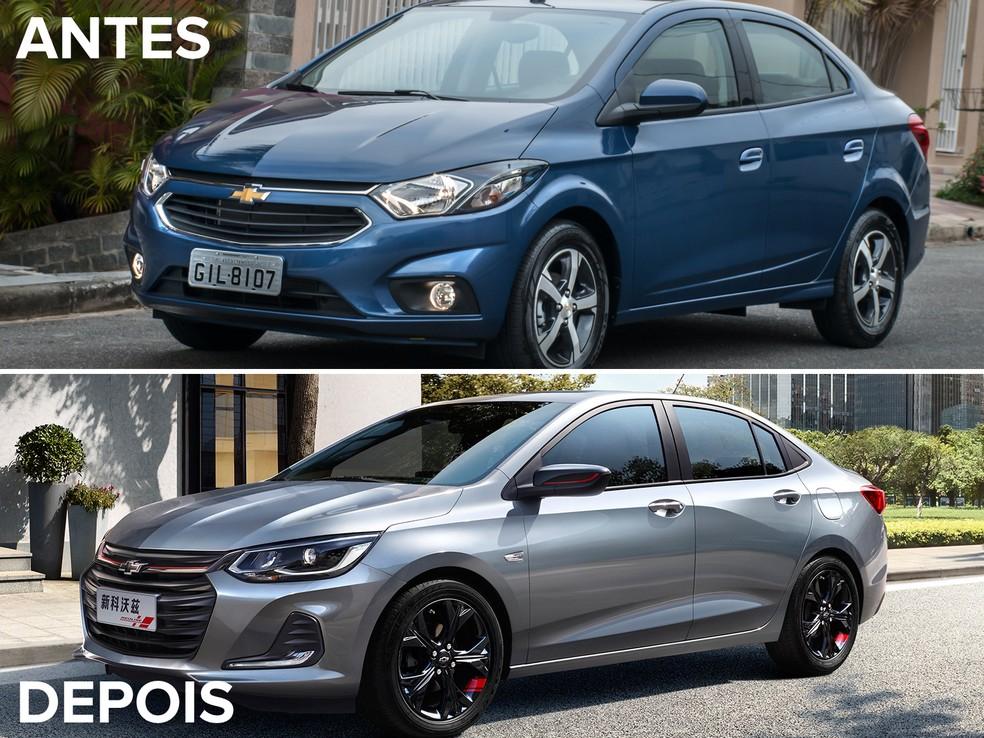 Antes e depois do Chevrolet Prisma — Foto: Divulgação