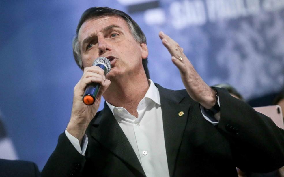 Jair Bolsonaro em convenção estadual do partido em SP (Foto: Dario Oliveira/Estadão Conteúdo)