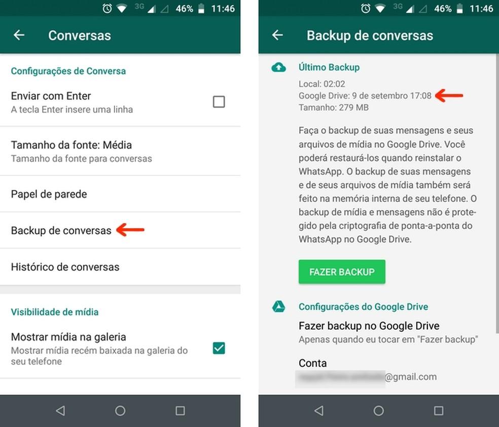 WhatsApp mostra data de realização do último backup no Google Drive — Foto: Reprodução/Raquel Freire