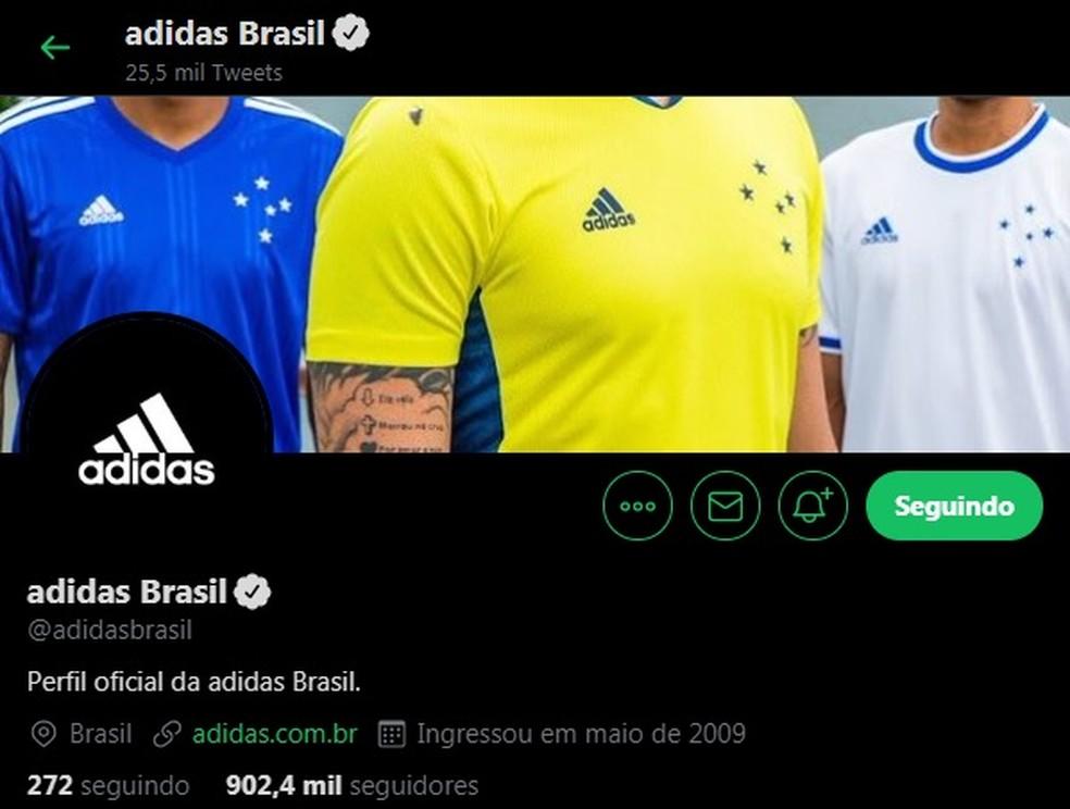 Adidas dá destaque ao novo uniforme do Cruzeiro — Foto: Reprodução/Twitter