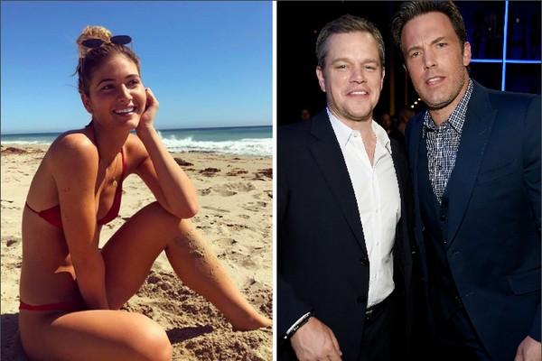 A modelo Shauna Sexton e os amigos atores Matt Damon e Ben Affleck (Foto: Instagram/Getty Images)