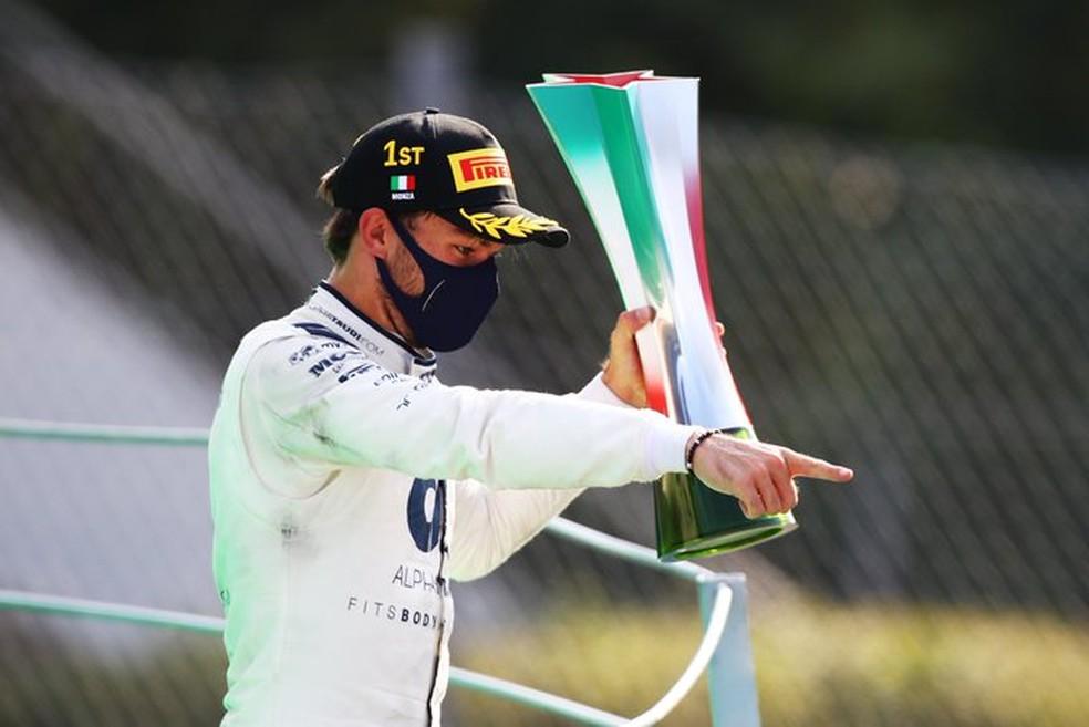 Pierre Gasly comemora primeira vitória na F1 — Foto: Divulgação/AlphaTauri