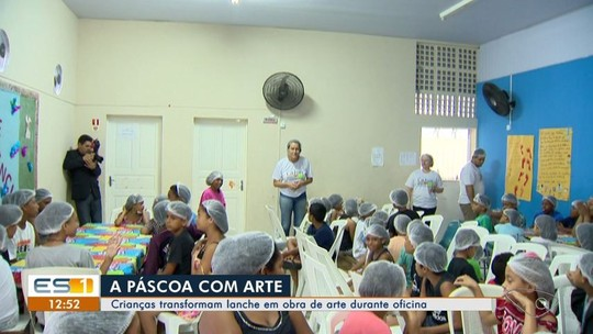 Crianças participam de oficina de Páscoa inspirada em trabalho de artista plástico, no ES