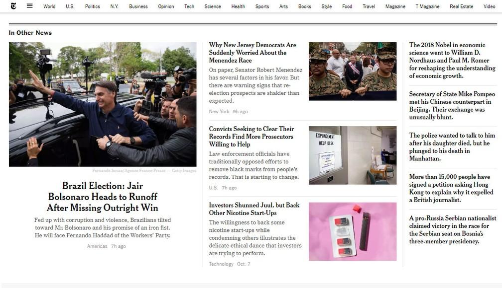 Site do jornal 'New York Times' repercute resultado da eleição no Brasil — Foto: Reprodução/New York Times
