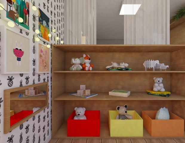 A estante mantém os brinquedos ao alcance de Sol, 2 anos (Foto: Arquivo pessoal/ Anny Meisler)